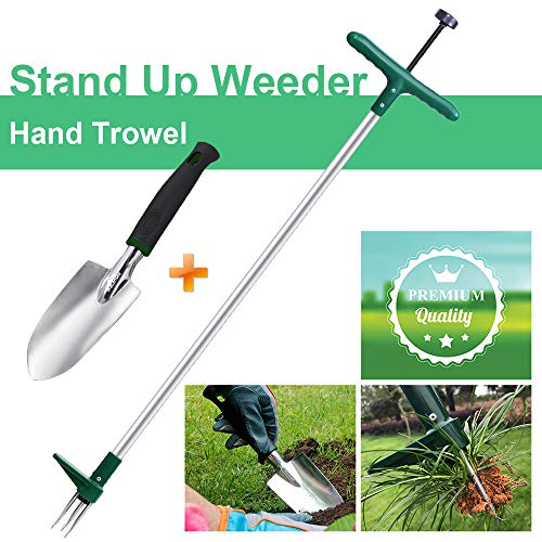 Walensee Stand Up Weeder and Weed Puller, Stand up Manual Weeder Hand Tool with 3 Claws, Stainless Steel and High Strength Foot Pedal, Weed Puller (Combo Pack - Stand Up Weeder & Hand Trowel)