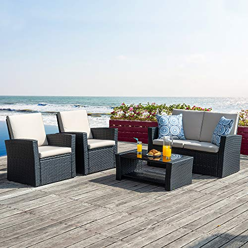 Walsunny Quality Outdoor Living,4 Piece Conversation Set Wicker Ratten Sectional Sofa with Seat Cushions,Outdoor Patio Furniture Sets,,(Black)…