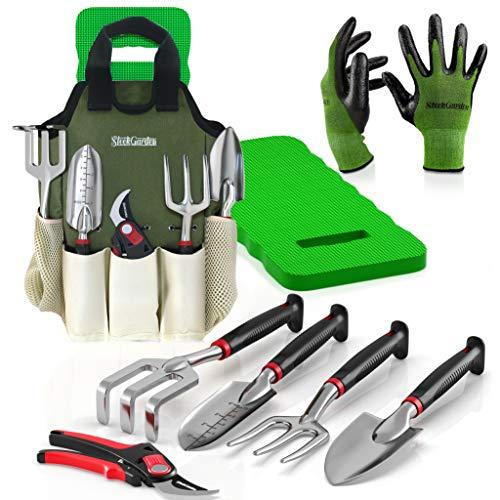 8-Piece Gardening Tool Set-Includes EZ-Cut Pruners, Lightweight Aluminum Hand Tools with Soft Rubber Handles- Trowel, Bamboo Gloves, Garden Tote, High Density Comfort Knee Pad Gardening Gifts Tool Set