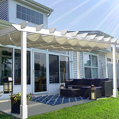 TANG Outdoor Retractable Pergola Replacement Shade Cover for Patio Deck Shade Canopy Awning Polyester Waterproof Fabric Slide on Wire Wave Shade Cover 3'x16' Beige
