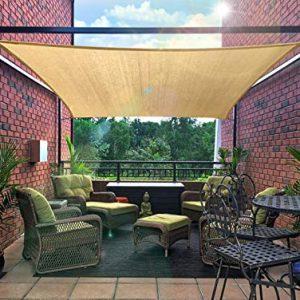 FLY HAWK SunShadeSailRectangle 10' x 10', Patio Sunshade Cover Canopy - Durable FabricCloth for Outdoor Garden Yard Pond Pergola Sandbox Deck Courtyard - Sand Color (10' x 10' Rectangle)