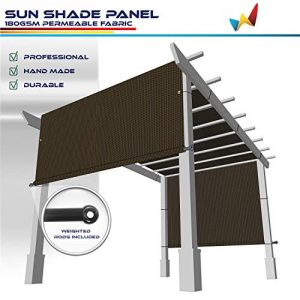 Windscreen4less 8' x 12' Universal Replacement Shade Cover Canopy for Pergola Patio Porch Privacy Shade Screen Panel with Grommets on 2 Sides Includes Weighted Rods Breathable UV Block Brown