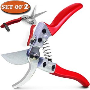 """HyleJhJy 8"""" Bypass Steel Pruning Shears with Stainless SK5 Steel Blades+Straight Tip Gardening Shears Garden Shears Garden Clippers Florist Scissors Hand Pruners Garden Tools Gardening Tools Set,Red"""