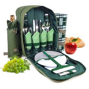 Bringalong green1 Picnic Backpack for 4 Persons with Cooler Compartment, Detachable Bottle Holder, Flatware, Blanket and Other Essentials