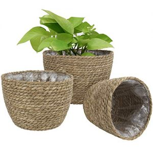 Seagrass Planter Basket Indoor Outdoor, Flower Pots Cover, Plant Containers, Natural, 10 inch(3-Pack)