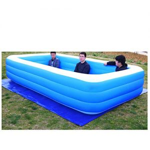 Inflatable Swimming Pools, Blow up Kiddie Pool Family Swimming Pool for Garden Outdoor Backyard Kids Family Inflation Pool Baby Ocean Ball Sand Pool Bath Square (Blue, XL)