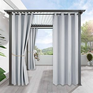 RYB HOME White Outdoor Curtains - Outside Patio Curtain Grommet Top Thermal Drape for Summer Heat Sun Light Block for Patio Door Arbor Lanai Lawn Corridor Pergola, 1 Pc, 52 x 95 inch, Grayish White