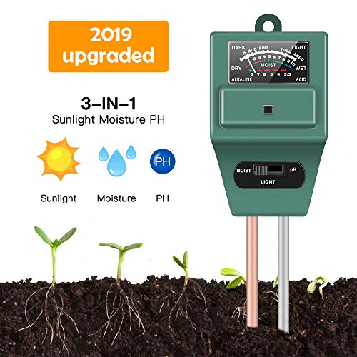 Soil Moisture Sunlight Ph Test Meter,Soil Tester Meter, 3-in-1 Test Kit for Moisture, Light and pH, for Home and Garden, Lawn, Farm, Plants, Herbs & Gardening Tools, Indoor/Outdoors Plant Care (Green)