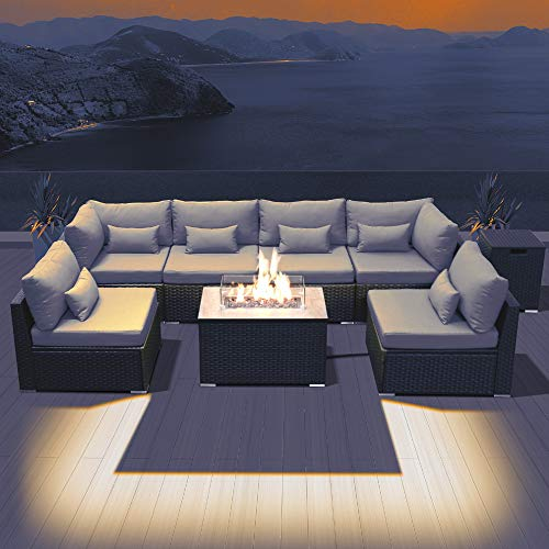DINELI Patio Furniture Sectional Sofa with Gas Fire Pit ...