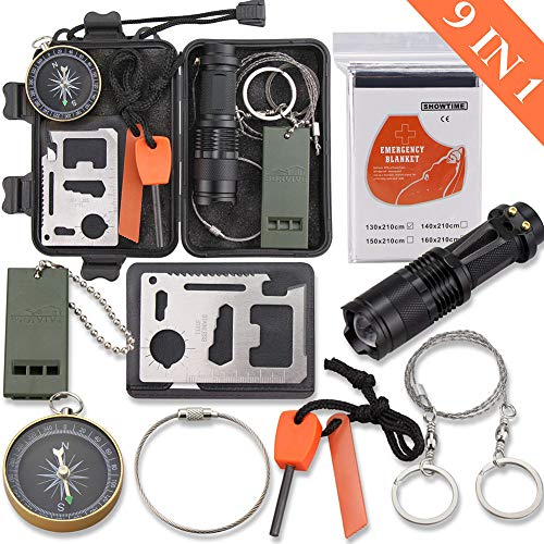 Emergency Survival Kit, Monoki 9-In-1 Compact Outdoor Survival Gear Kits Portable EDC Emergency Survival Tools Set with Gift Box for Camping Hiking Hunting Climbing Travelling or Wilderness Adventures