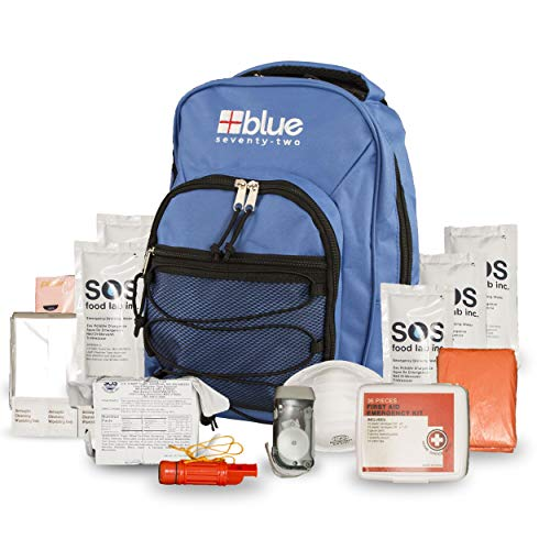 Blue Coolers Blue Seventy-Two   72 Hour Emergency Backpack Survival Kit for 1 Person   Survival Kit for Roadside, Earthquakes, Tornado, Hurricane, and Other Emergencies…