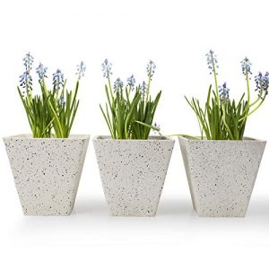 Flower Plant Pots Indoor Planters - 5.5 Inch Speckled White Garden Pots, Square Tapered Plant Container, Set of 3