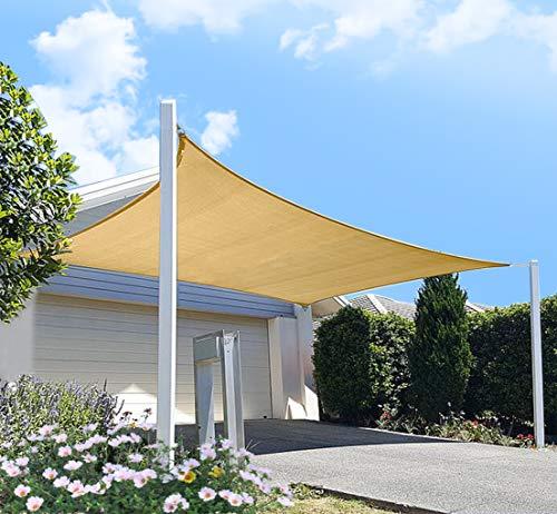 diig Patio Sun Shade Sail Canopy, 10' x 12' Rectangle Shade Cloth Block Sunshade Fabric - Outdoor Cover Awning Shelter for Pergola Backyard Garden Yard (Sand Color)