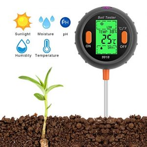 SubClap Soil Test Kit 5-in-1 Moisture Sunlight pH Soil Tester Meter, Soil Sensor Tool Tester Water Light pH for Plants/Vegetables/Garden/Lawn/Farm (Battery not Included)