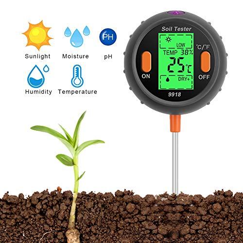 SubClap Soil Test Kit 5-in-1 Moisture Sunlight pH Soil Tester Meter, Soil Sensor Tool Tester Water Light pH for Plants/Vegetables/Garden/Lawn/Farm (Battery not Included)