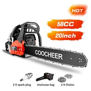 "COOCHEER Chainsaw 58CC 20"" Powerful Gas Chainsaw 2 Stroke Handed Petrol Chain Saw Woodcutting Saw for Farm, Garden and Ranch with Tool Kit"