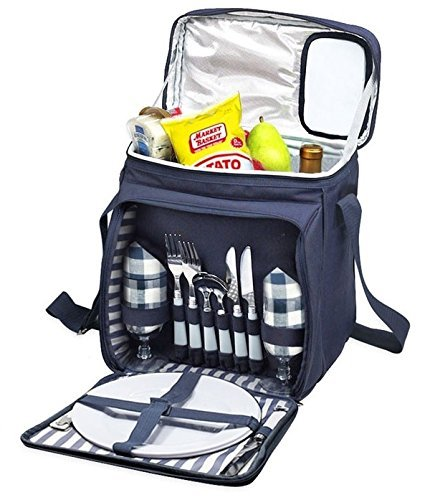 Blue Insulated Picnic Basket - Lunch Tote Cooler Backpack w/Flatware Two Place Setting