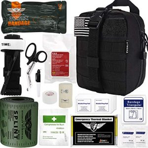 "Everlit Emergency Survival Trauma Kit with Tourniquet 36"" Splint, Military Combat Tactical IFAK for First Aid Response, Critical Wounds, Gun Shots, Blow Out, Severe Bleeding Control and More (Black)"