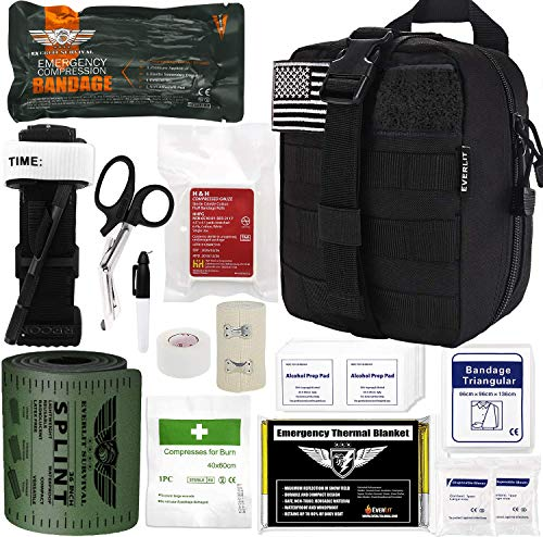 """Everlit Emergency Survival Trauma Kit with Tourniquet 36"""" Splint, Military Combat Tactical IFAK for First Aid Response, Critical Wounds, Gun Shots, Blow Out, Severe Bleeding Control and More (Black)"""