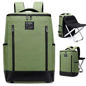 Dulcii Backpack Stool Combo Multi-Functional Large Capacity Shoulder Bag Portable Folding Seat Beach Chair for Camping Fishing Hiking Picnic Outdoor Watching Sports Events, Chair Can be Removed, Green