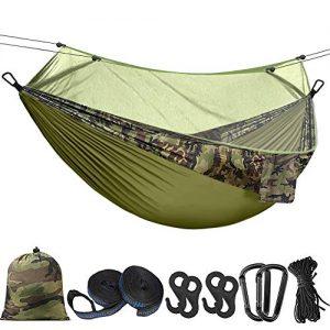 Hieha Double Camping Hammock with Mosquito Net Tree Hammocks,Portable Travel Hiking Camping Hammocks for 2 Adults (Dark Green)