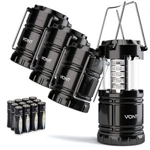 Vont 4 Pack LED Camping Lantern, LED Lantern, Suitable for Survival Kits for Hurricane, Emergency Light, Storm, Outages, Outdoor Portable Lanterns, Black, Collapsible, (Batteries Included)