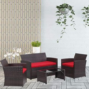 Klismos 4 Piece Patio Furniture Set Outdoor Wicker Chair Rattan Sofa Conversation Sets,Fade-Resistant Cushions,Tempered Glass,Coffee Table(Brown Rattan and Red Sofa)