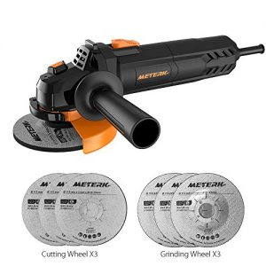 Electric Angle Grinder Meterk 6A 4-1/2inch with 115mm 3 Grinding Abrasive Wheels 3 Cutting Abrasive Wheels