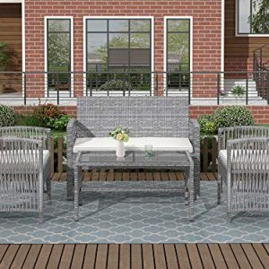 Merax Patio Conversation Set Outdoor Garden Lawn Pool Rattan Sofa Wicker Furniture Set Coffee Table Bistro Sets with Weather Resistant Cushions (Grey)