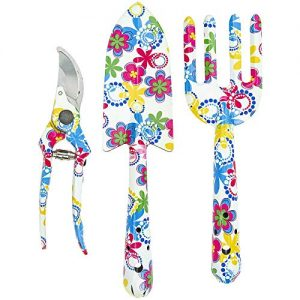 Floral Design Gardening Tools, Set of 3 - Southern Homewares - Clippers, Trowel, and Weeding Fork