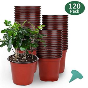 GROWNEER 120 Packs 6 Inches Plastic Plant Nursery Pots with 15 Pcs Plant Labels, Seed Starting Pot Flower Plant Container for Succulents, Seedlings, Cuttings, Transplanting