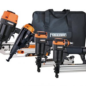 Freeman P4FRFNCB Pneumatic Framing & Finishing Combo Kit with Canvas Bag (4Piece) Nail Gun Set with Framing Nailer, Finish Nailer, Brad Nailer, & Narrow Crown Stapler