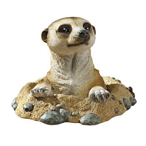 Design Toscano QL57081 Out of the Kalahari Meerkat Garden Animal Statue, 10 Inch, Polyresin, Full Color