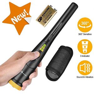 RM RICOMAX Pinpointer Metal Detector - IP68 Waterproof Metal Detect Wand w/Belt Holster & 9V Battery Included, Treasure Hunting Probe for Kids & Adults, 2020 Upgraded Version