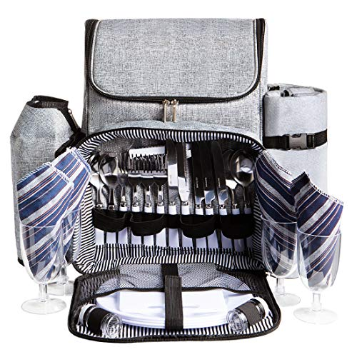 HOMAKER Picnic Backpack for 4 Person Set Pack withLarge Insulated Cooler Compartment, Waterproof Fleece Blanket & Detachable Wine Holder for Family Outdoor Camping
