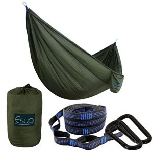 """Esup XL Camping Hammock -Multifunctional Lightweight Nylon Portable Hammock, Best Parachute Hammock for Backpacking, Camping, Travel, Army Green, 118""""(L) x 78""""(W)"""