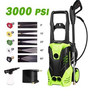 Homdox Electric Pressure Washer 3000PSI 1.8GPM Power Pressure Washer Machine with Power Hose Gun Turbo Wand 5 Interchangeable Nozzles