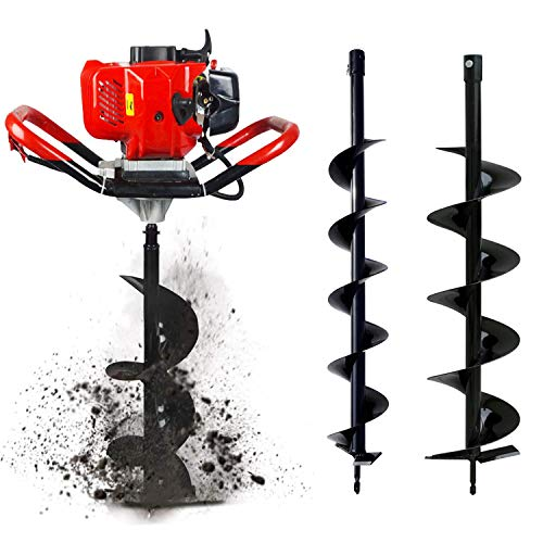 "ECO HOUSE 52cc 2.4HP Gas Powered Post Hole Digger with Two Earth Auger Drill Bit 4"" & 6"""