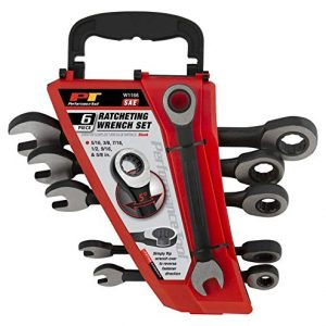 """Performance Tool Black 6pc Rack W1166 6 Piece SAE Combination Ratchet Wrench Set 
