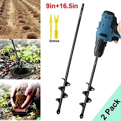 """Garden Auger Drill Bit 1.6x9in & 1.6x16.5in Garden Auger Spiral Drill Bit Rapid Planter for 3/8"""" Hex Drive Drill - for Tulips, Iris, Bedding Plants and Digging Weeds Roots"""
