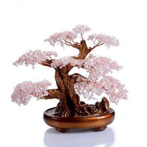 KALIFANO Natural Rose Quartz Gemstone Chakra Crystal Tree with Healing Properties - Bonsai Feng Shui Money Tree for Love and Self Care