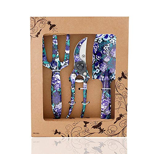 FLORA GUARD 3 Piece Aluminum Garden Tool Set - Trowel, Cultivator, Pruning Shear, Gift Set for Gardening Needs (Purple)
