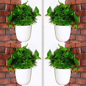 Sungmor Corner Planter Wall Mounted Plant Pots - Self Watering Vertical Hanging Planters - 4PC White Pack - Right Angle Flower Pots Plant Containers - Great Home Office Kitchen Wall Corner Decor Pots