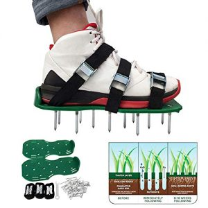 Lawn Aerator Shoes, Aluminum Alloy Buckles Spiked Aerating Lawn Sandals, Nails for Aerating Your Lawn or Yard, 4 Adjustable Straps Universal Size, Green