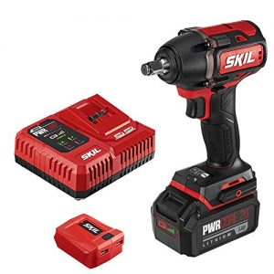 SKIL PWRCore 20 Brushless 20V 1/2 Inch Impact Wrench, Includes 5.0Ah Lithium Battery, Mobile Charging Adapter and PWRJump Charger - IW5739-1A