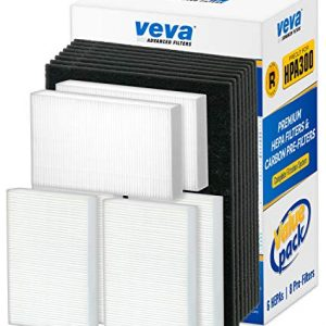 VEVA Premium HEPA Replacement Filter 6 Pack Including 8 Precut Activated Carbon Pre-Filters for HPA300 Compatible with HW Air Purifier 300 and Filter R