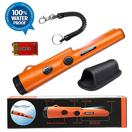 Fully Waterproof Metal Detector Pinpointer - Include a 9V Battery, 360°Search Treasure Pinpointing Finder Probe with Belt Holster for Adults and Kids (Three Mode)