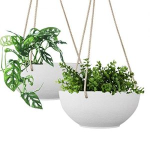 White Hanging Planter Basket - 8 Inch Indoor Outdoor Flower Pots, Plant Containers with Drainage Hole, Plant Pot for Hanging Plants, Pack 2
