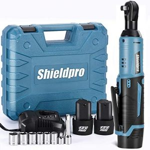"""Cordless Electric Ratchet Wrench Kit,40Ft-lb 3/8""""Power Ratchet Wrench 1-Hour Fast Charge,2 Packs 2000MA Lithium-Lon Battery,1/4 Adaptor,Extension Bar"""