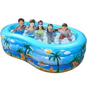 "iBaseToy Inflatable Swimming Pool, 95"" x 59"" x 23"" Giant Family Inflatable Pool, Inflatable Kiddie Pool, Family Lounge Pool for Kids, Adults, Babies, Toddlers, Outdoor, Garden, Backyard, for Ages 3+"